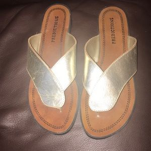 Quality leather gold sandals